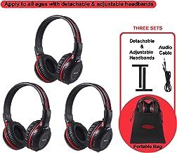 SIMOLIO 3 Pack of DVD Wireless Headphones with Storage Bag, Durable Car Kids IR..