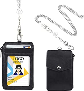 Leather Badge Holder with Necklace Lanyard, 4 Card Slots Zipper ID Holder with 20