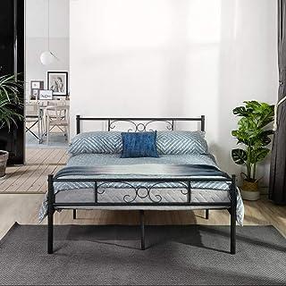 Symylife Design Lit Double en métal Cadre de lit Double avec Lattes Pleines et Structure métallique 140x190cm, Noir