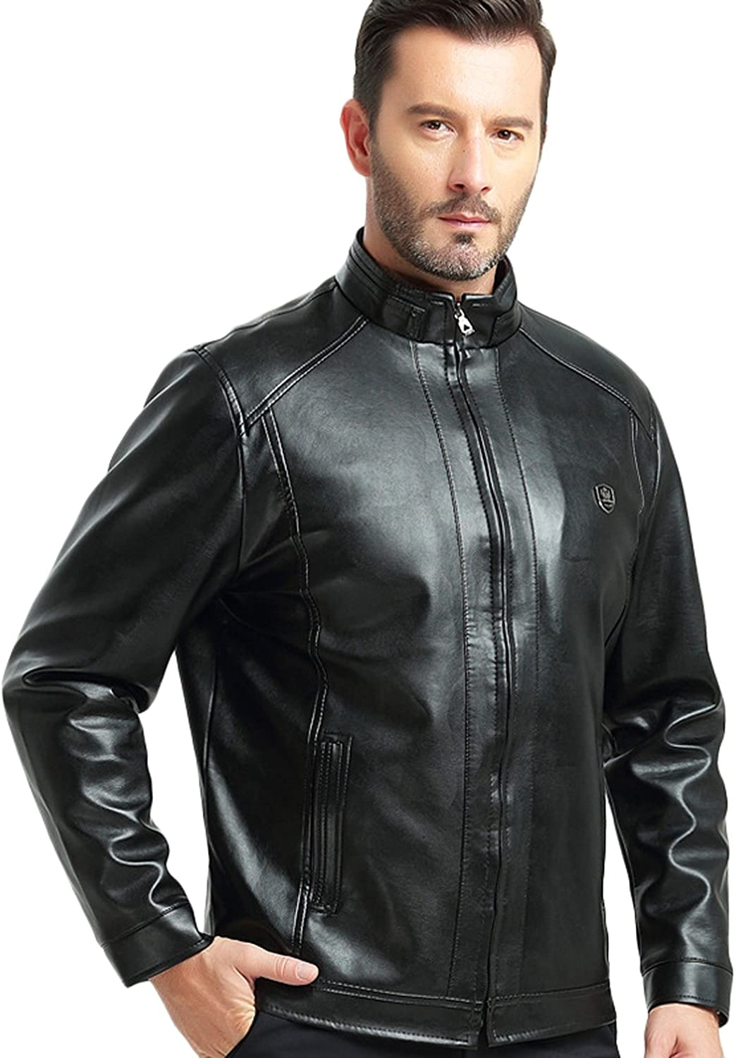 Youhan Men's Casual Fleece Lined Jacket Faux PU Leather mart Outlet sale feature