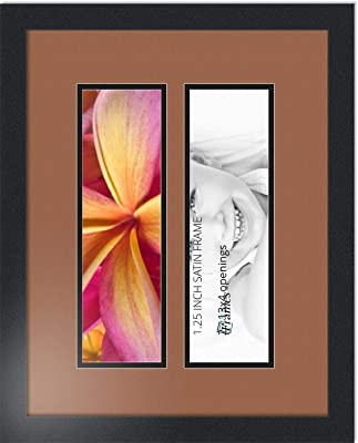8x19 Double Picture Frame for Two 5x7 Photos Black Matte Wood Hanging