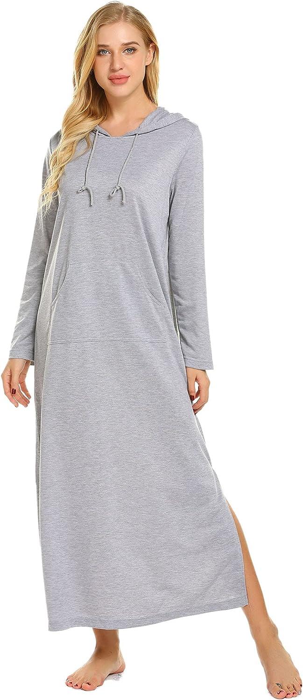 Ekouaer Sleepwear Long Sleeve Hooded Sweatshirt Robe Women Casaul full length Nightgowns With Pocket