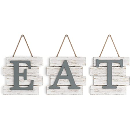 """Barnyard Designs Eat Sign Wall Decor, Rustic Farmhouse Decoration for Kitchen and Home, Decorative Hanging Wooden Letters, Country Wall Art, Distressed White/Grey, 24"""" x 8"""""""