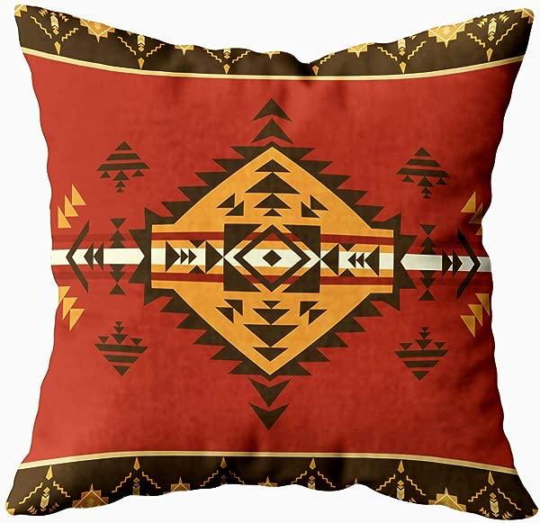 HerysTa 沙发抱枕套家用装饰抱枕套 16x 16英寸隐形拉链靠垫套民族纹部落印花可方形沙发床 D Cor 黑色黄色