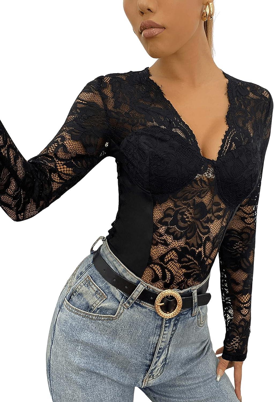 SweatyRocks Women's Sexy Lace V Neck Clubwear Top Sheer Mesh Long Sleeve Bodysuit