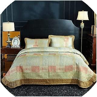 NanPing Luxury Gold Blue Brown European Jacquard Cotton Blanket Tatami Mat Summer Quilt Bedspread Bed Sheet Pillowcases Bedding Set 3pcs,2,245X250cm 3pcs