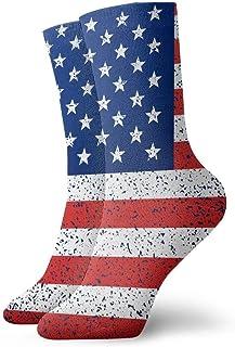 tyui7, Calcetines de compresión antideslizantes de la bandera americana de la textura del grunge Calcetines deportivos acogedores de 30 cm para hombres, mujeres y niños