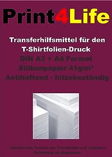 Print4Life - Papel de silicona de ayuda para el proceso de transferencia de impresión textil, 10 hojas, A4