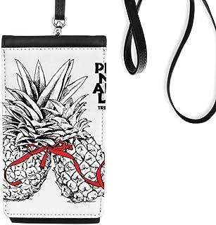 DIYthinkerPineapple Couple Trend Tropical Fruit Phone Wallet Purse Hanging Mobile Pouch Black Pocket