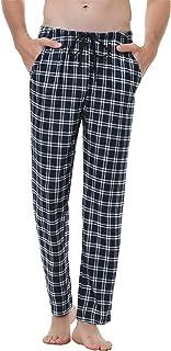 Pantalones de Pijama Hombre Pantalón Algodón Pijama de Cuadros Largos Pantalones de Casa para Hombre Pijama Suelto de Hombre