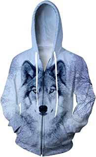 Unisex 3D Full Zip Hoodie Realistic Wolf Print Hooded Sweatshirt Jacket with Pockets S-XXL