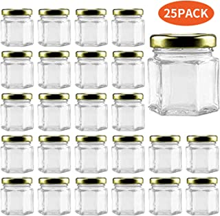 Small Mason Jars,Woaiwo-q 1.5oz Small Glass Jars Mini Honey Jars Clear Hexagon Jars with Lids(Gold,25Pack)