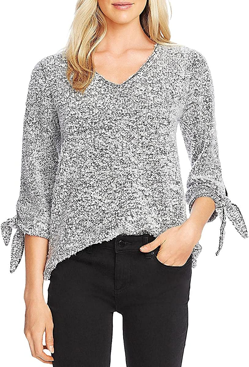 Vince Camuto Womens Tie Cuff Knit V-Neck Sweater Gray XXL