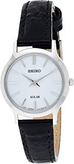 SEIKO Women's Solar Powered Watch, Analog Display and Leather Strap SUP299P1