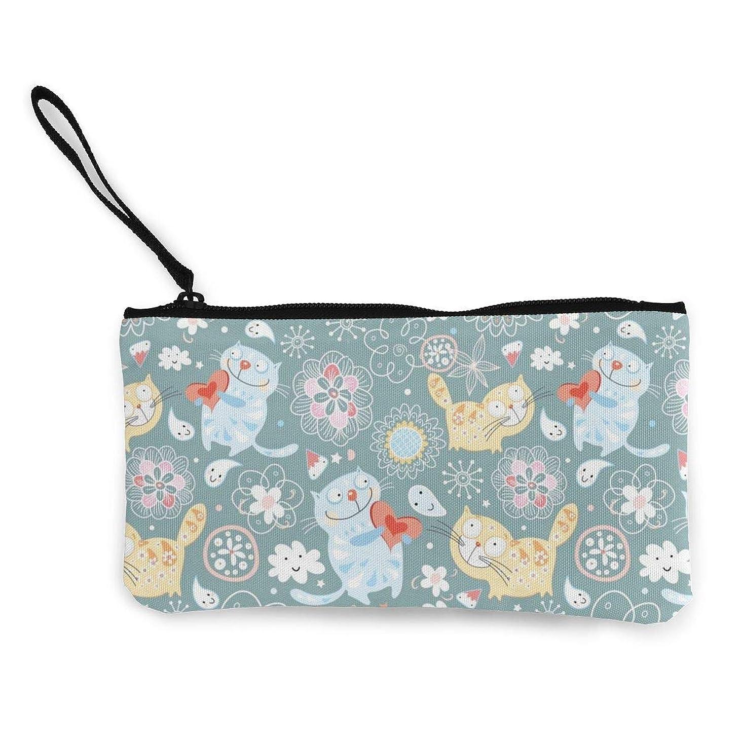 罹患率裸ひどいErmiCo レディース 小銭入れ キャンバス財布 猫のバレンタインデー 小遣い財布 財布 鍵 小物 充電器 収納 長財布 ファスナー付き 22×12cm