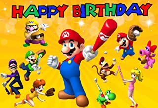7x5ft Super Mario Birthday Party Supplies Photography Backdrop Uncle Bros with Mushrooms Boys Girls Kids Birthday Party Background for Children Newborn Baby Cake Dessert Table Decor Photo Booth 244