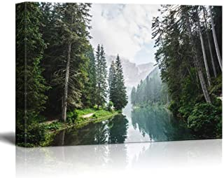 wall26 Canvas Wall Art - Clear Lake and Mountain in The Forest - Giclee Print Gallery Wrap Modern Home Decor Ready to Hang - 32x48 inches