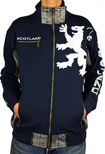 I Luv LTD Gents Zipper Top Scotland Lion Tartan Insert Navy Taille petit
