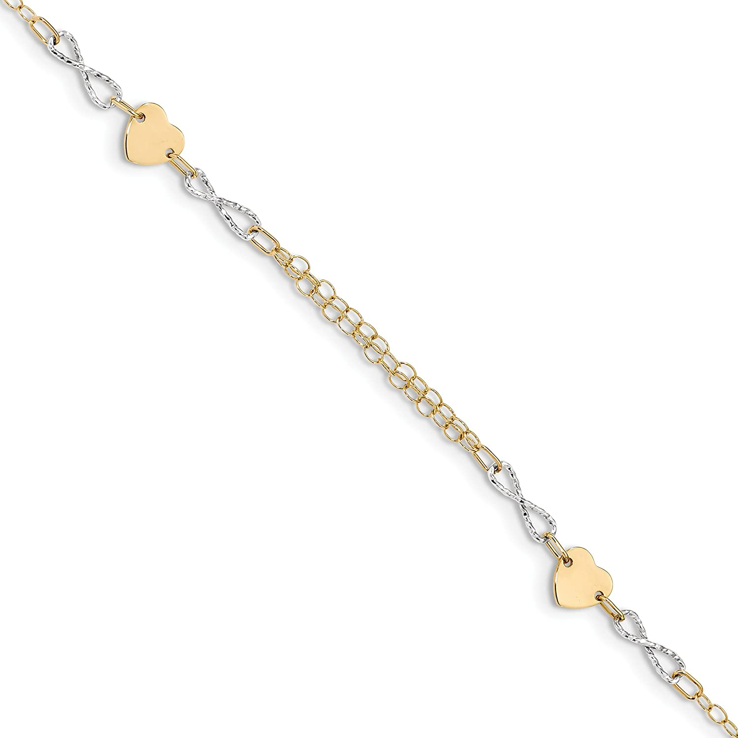 14k Twotone gold gold Infinity and Heart Bracelet 7inch