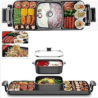 HKAFD Coréen BBQ Grill Shabu-Shabu Grilladée Pot d'une pièce grillée, Grille électrique sans fumée et revêtement antiadhés...