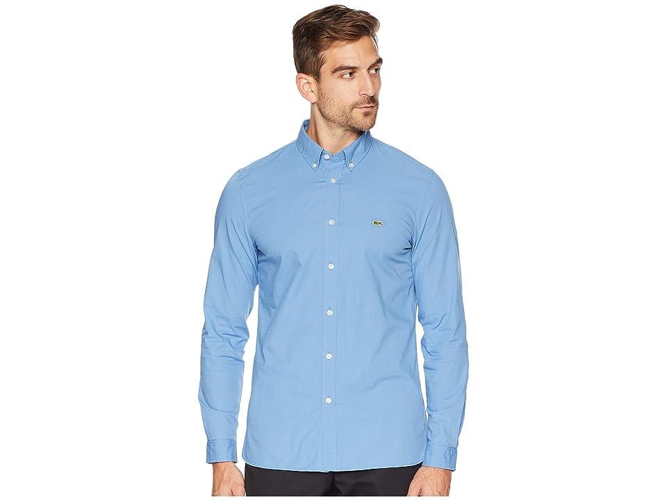 Lacoste Long Sleeve Solid Poplin Stretch Button Down Collar Slim (Turquin Blue) Men