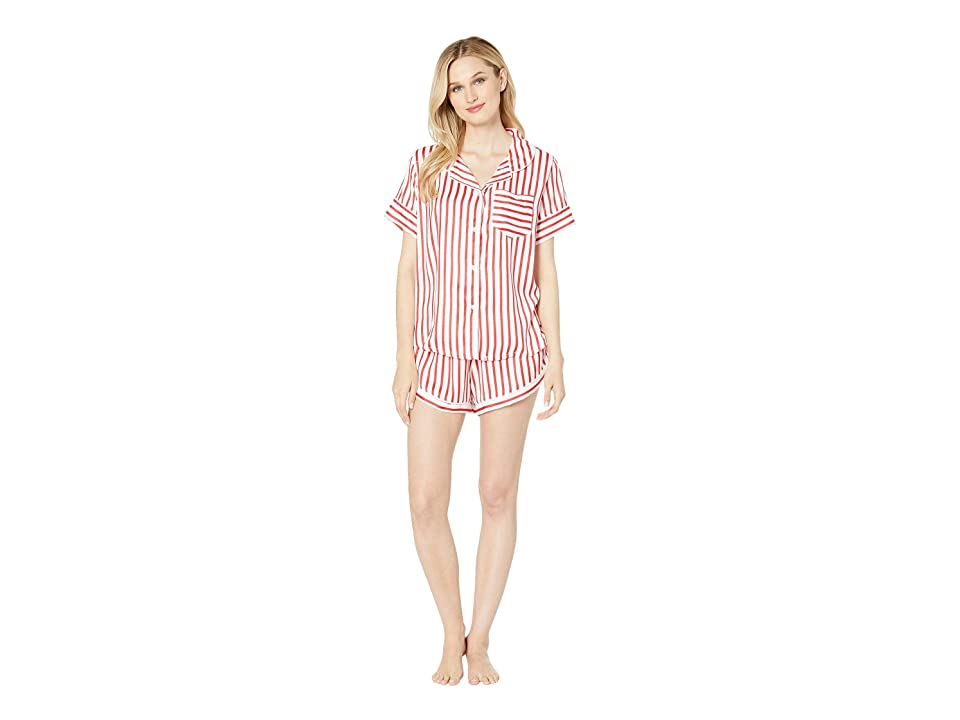 Plush Silky Striped Short Sleeve Shorts Pajama Set (Red/White Stripe) Women
