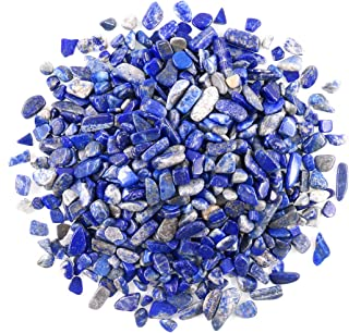 Swpeet 1 Pound Lapis Lazuli Small Tumbled Chips Stone Gemstone Chips Crushed Pieces Irregular Shaped Stones Crystal Chips Stone Perfect for Jewelry Making Home Decoration