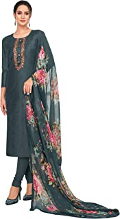 Rajnandini Women's Multicolored Chanderi Silk Embroidered Semi-Stitched Salwar Suit Material