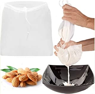 2Pcs Reusable Nut Milk Bag Commercial Grade Fine Mesh Nylon Cheesecloth All Purpose Food Strainer Cold Brew Coffee Filter