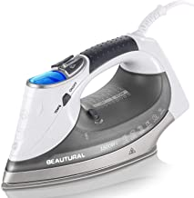 BEAUTURAL 1800-Watt Steam Iron with Digital LCD Screen, Double-Layer and Ceramic Coated Soleplate, 3-Way Auto-Off, 9 Prese...