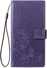 Fantasydao Case for Huawei Mate 10 Pro Magnetic Purse Holster Wrist Strap Wallet Embossed Women Men PU Leather Cover Flip Stand Bumper Card Slot Full Body Protective Shell(purple)