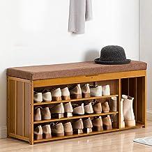 Bamboo Shoe Rack Bench, 3-Tier Shoe Storage Bench, Shoe Storage Organizer Storage Shelf, with Soft Seat Cushion, for Entry...