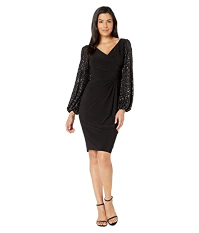 Adrianna Papell Draped Jersey Dress with Sequin Sleeves (Black) Women