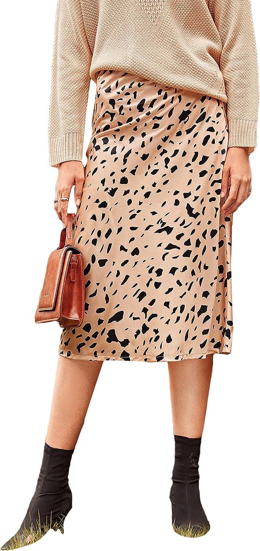 MakeMeChic Women's High Waist All Over Print Satin Zipper A Line Midi Skirt
