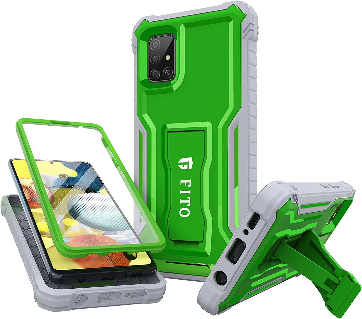 FITO Samsung Galaxy A51 5G Case, Dual Layer Shockproof Heavy Duty Case for Samsung A51 5G Phone with Screen Protector, Built-in Kickstand (Green)