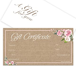Blank Gift Certificates 25set - Rose Kraft - Comes with Free matching Envelopes - Small Business, Spa, Makeup,Hair Beauty Salon,Restaurant,Wedding Bridal,Baby Shower,Holiday,Christmas,Birthday