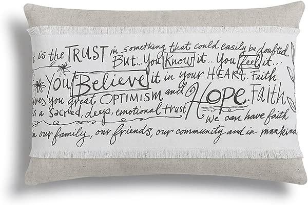DEMDACO Poetic Threads Believe Hope Faith Throw Pillow