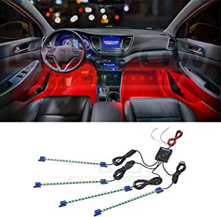 LEDGlow 4pc Red LED Interior Footwell Underdash Neon Lighting Kit for Cars & Trucks - 7 Unique Patterns - Music Mode - 8 Brightness Levels - Auto Illumination Bypass Mode - Universal Fitment