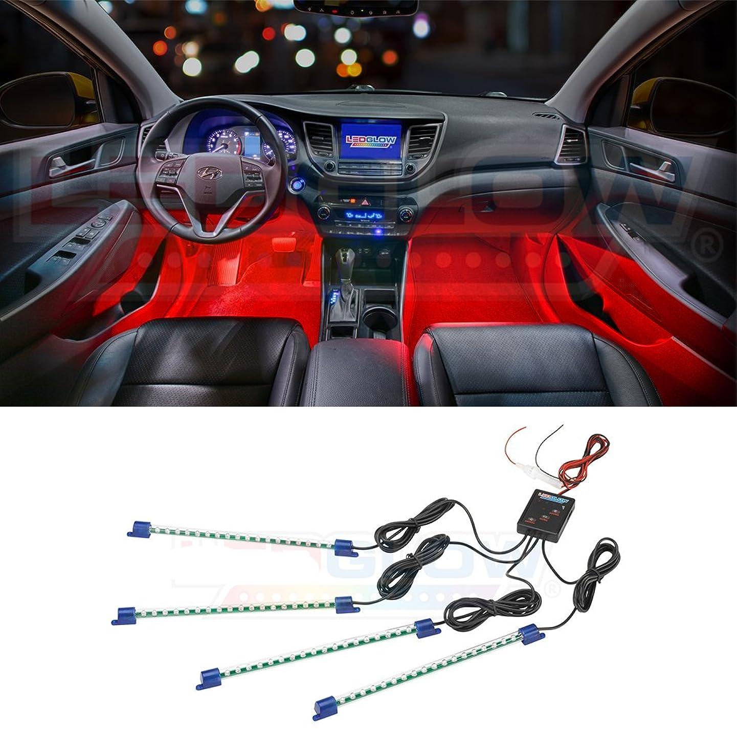 LEDGlow 4pc Red LED Car Interior Underdash Lighting Kit - Universal Fitment - Music Mode - Auto Illumination Bypass Mode