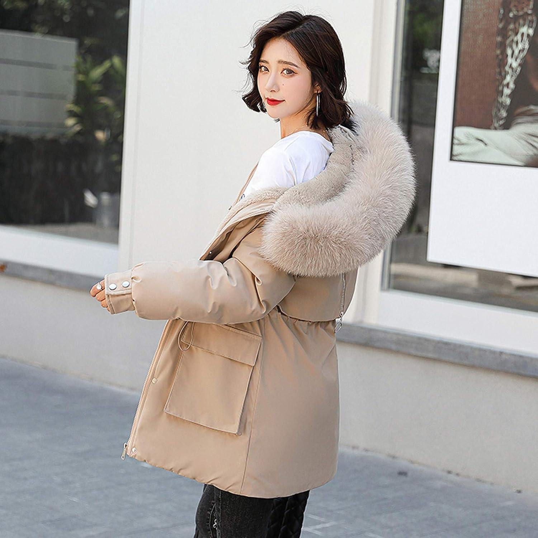 Yowablo Mantel Mantel Outwear Frauen Winterjacke Warm Slim Pelzkragen Reißverschluss Dicker Khaki