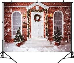 DePhoto 9X6FT(270X180CM) Christmas Theme Backdrop Christmas Tree Light Brick Wall House in The Snow Seamless Vinyl Photography Photo Background Studio Prop PGT273B