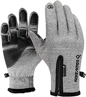 RFAIKA Guantes Ciclismo de Moto Invierno Guantes Tactiles Leather Winter Warm Waterproof Windproof Gloves, Men and Women Leather and Velvet Making Riding Mountain Climbing Guantes Cuero
