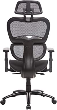 NAODAI Ergonomic Black Mesh Chair with Elastic Mesh and Lumbar Support, Breathable Cushion and Back, Metal Base, Multi-Functi