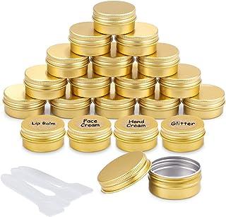 20 Pezzi Vasetti Alluminio, Barattoli Metallo Vasetto Vuoto Contenitori Cosmetici con copri di Vite e etichette e Mini Spa...