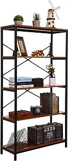 4 Shelf Bookcase, Bookshelf Industrial Style Metal and Wood Bookshelves, Open Wide Home Office Book Shelf