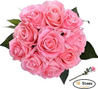 Artificial Flowers Bridal Wedding Bouquet 10 pcs Romantic Bride Wedding Holding and Tossing Bouquet Rose Pink