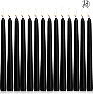 Ahyiyou Black Taper Candles, Smokeless Unscented 10 inch Tall Candlesticks Great for Table Centerpiece Decoration- Gift Set of 14