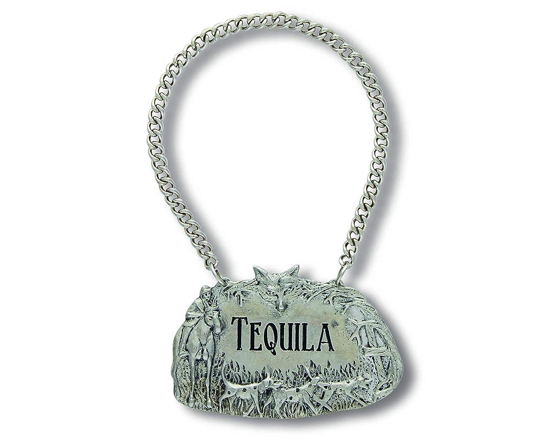 Vagabond House Embossed Pewter Hunting Scene TEQUILA Decanter Tag/Liquor Bottle Label 2.5