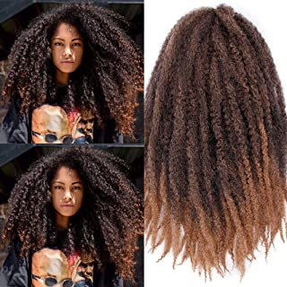 Afro Kinky Curly Hair Extensions Crochet Weaving Hair Weave Bundles Afro Kinkys Curly Hair Bundles Natural Color (10 inches/3PACK),1B/27