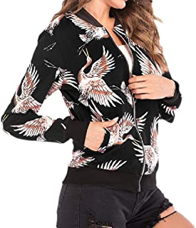 MogogoWomen Floral Printed Zip-Up Baseball Lounge Long Sleeve Jacket